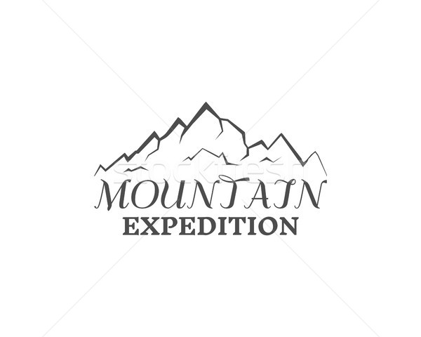 Mountain expedition badge, outdoors logo, emblem and label. Monochrome insignia design. Best for cam Stock photo © JeksonGraphics