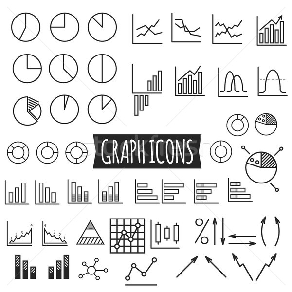 Business charts. Set of thin line graph icons. Outline. Can be use as elements in infographics, as w Stock photo © JeksonGraphics