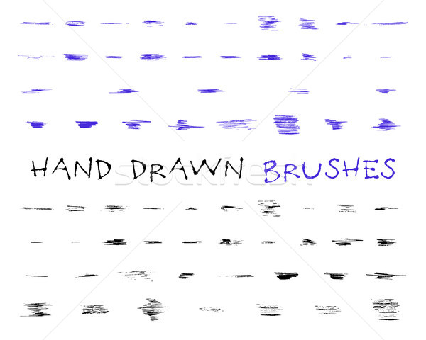 Set of hand drawn,doodle, sketched grunge brushes. Abstract hand drawn ink, felt pen strokes for dra Stock photo © JeksonGraphics