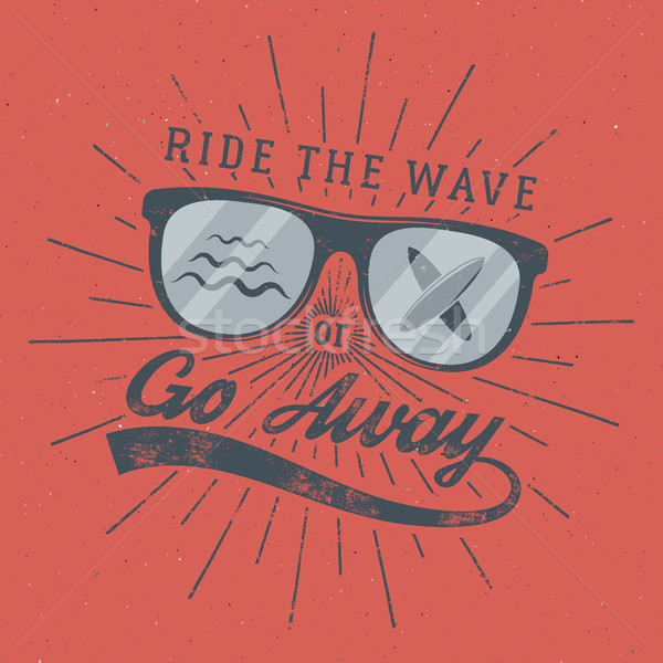 Vintage Surfing Poster for web design or print. Surfer glasses emblem, summer and typography sign -  Stock photo © JeksonGraphics