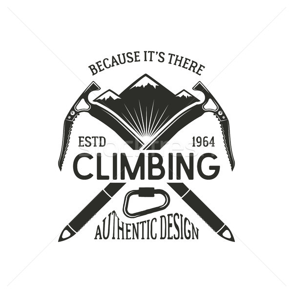 Bağbozumu tırmanma rozet logo amblem tırmanmak Stok fotoğraf © JeksonGraphics
