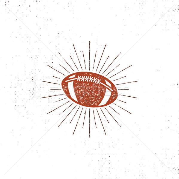 Vector american football bal illustration, icon. Retro design. Usa sports pictogram with sunbursts i Stock photo © JeksonGraphics