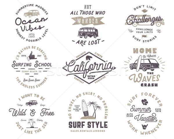 набор Vintage серфинга графика веб-дизайна печать Сток-фото © JeksonGraphics