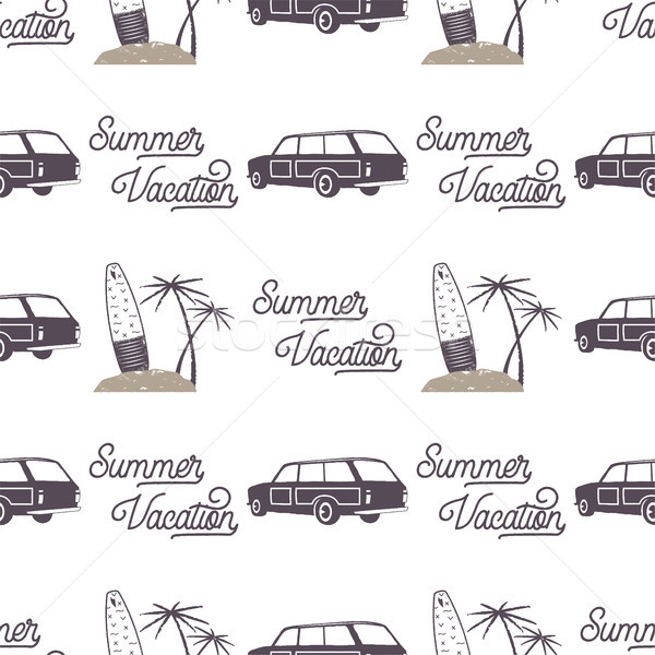 Surfing old style car pattern design. Summer seamless wallpaper with surfer van, surfboards, palms.  Stock photo © JeksonGraphics