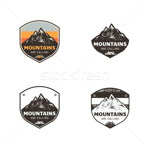 Ski Club, Mountains Explorer Labels. Vintage hand drawn mountain winter camp badges. Outdoor adventu Stock photo © JeksonGraphics
