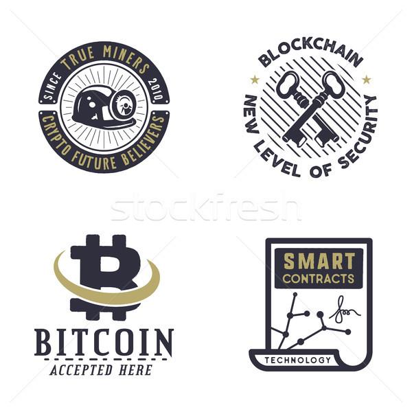 Bitcoin kavramlar dijital logolar Stok fotoğraf © JeksonGraphics