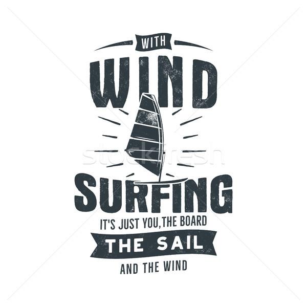 Vintage het windsurfen grafisch ontwerp zomer reizen Stockfoto © JeksonGraphics