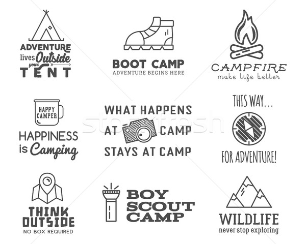 Camping logo design set with typography and travel elements - bonfire, mountain, tent. With vector a Stock photo © JeksonGraphics