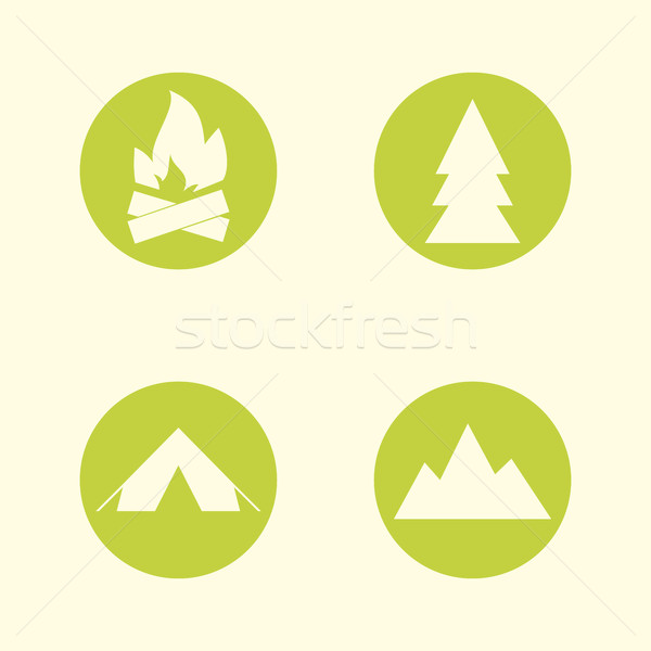 Stock fotó: Turista · felirat · ikon · gyűjtemény · kempingezés · szimbólumok · utazás