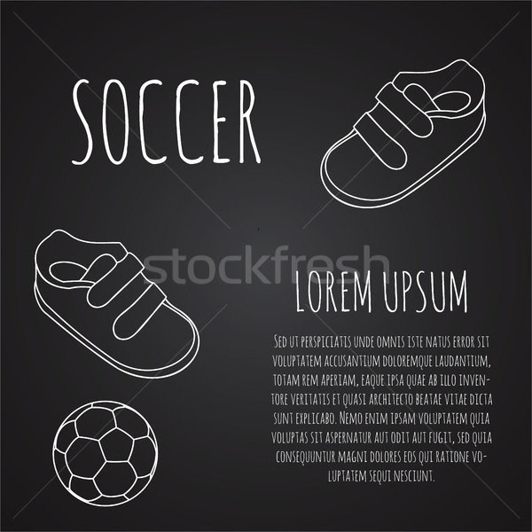 Template for advertising brochure with a sneakers and soccer ball on a chalk blackboard. Outline des Stock photo © JeksonGraphics