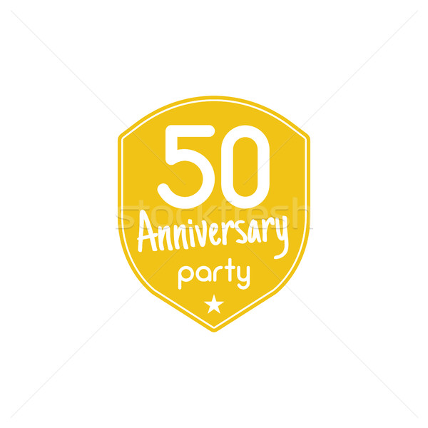 50 years anniversary party badge, sign. Emblem of 50th anniversary party in flat style. Easy to edit Stock photo © JeksonGraphics