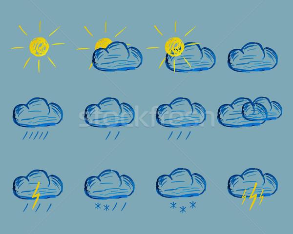 Weather Felt Pen Drawing Icons Stock photo © JeksonGraphics