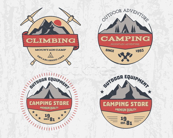 Set of retro color outdoor camping adventure and mountain, climbing, hiking badge logo, emblem, labe Stock photo © JeksonGraphics