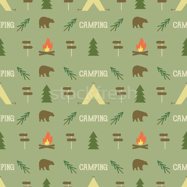 Camping modèle wallpaper design Photo stock © JeksonGraphics