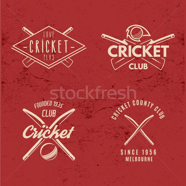 набор ретро крикет клуба дизайна логотип Сток-фото © JeksonGraphics
