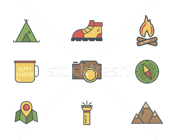 Summer and winter mountain explorer camp icons in flat style. Travel, hiking, climbing pictograms. R Stock photo © JeksonGraphics