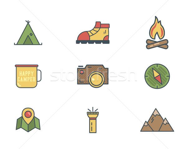 été hiver montagne explorateur camp icônes Photo stock © JeksonGraphics
