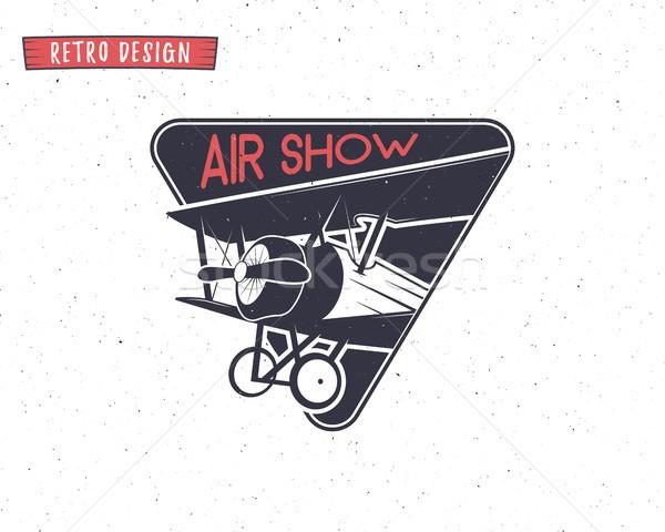 эмблема биплан Label ретро самолет жетоны Сток-фото © JeksonGraphics