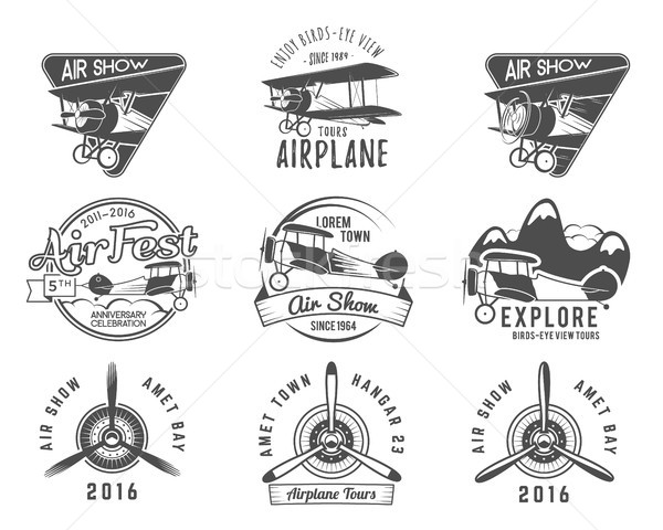 Vintage airplane emblems. Biplane labels. Retro Plane badges, design elements. Aviation stamps colle Stock photo © JeksonGraphics