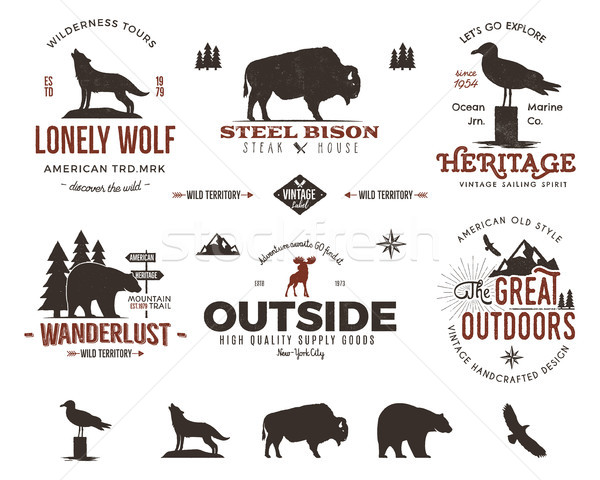 Wild animal badges set and outdoors activity insignias. Retro illustration . Typography camping styl Stock photo © JeksonGraphics