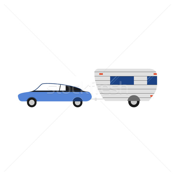 Vector rv trailer illustration. Flat camping icon. Good for the travel agency and camping, outdoor a Stock photo © JeksonGraphics