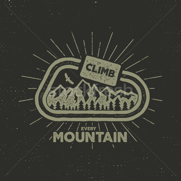outdoor adventure label. Vintage design with text and climbing symbols - carabiner, mountains. Typo Stock photo © JeksonGraphics