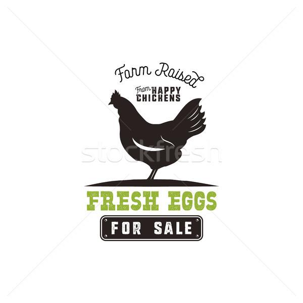 çiftlik taze yumurta poster bağbozumu rustik Stok fotoğraf © JeksonGraphics