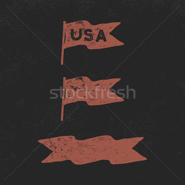 Hand drawn vintage flags collection. Retro roughen style. USA sign and blank pennant and ribbon. Eas Stock photo © JeksonGraphics