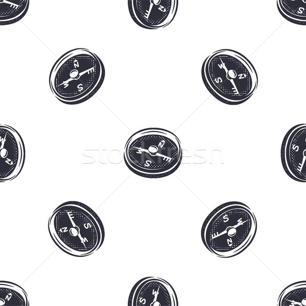 Vintage hand drawn compass seamless pattern. Monochrome design for fabric prints, t shirts and other Stock photo © JeksonGraphics