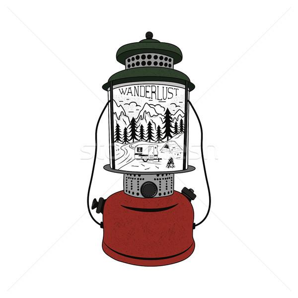 Vintage hand drawn Camping Lantern Emblem. Mountain adventure inside. Camp T-shirt. Funny hiking con Stock photo © JeksonGraphics