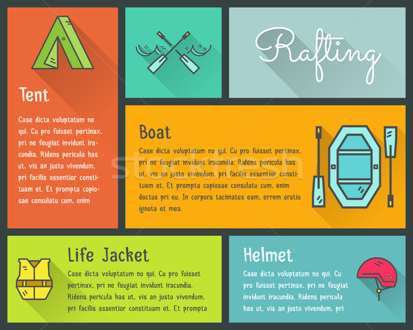 Flat design vector infographics of kayaking, canoe equipment with text and icons, emblems. Cute styl Stock photo © JeksonGraphics