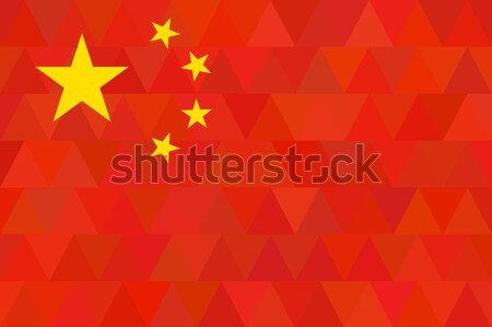 China Flag. Original proportion and colors. Geometric unusual concept. Abstract square design. High  Stock photo © JeksonGraphics
