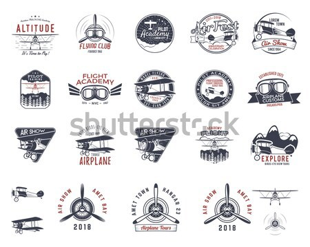 Set of vintage handcrafted emblems, labels, logos. Isolated on a color shapes. Sketching filled styl Stock photo © JeksonGraphics