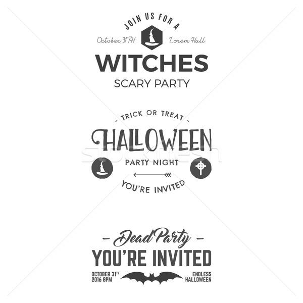 Halloween 2016 etykiety szablony scary Zdjęcia stock © JeksonGraphics