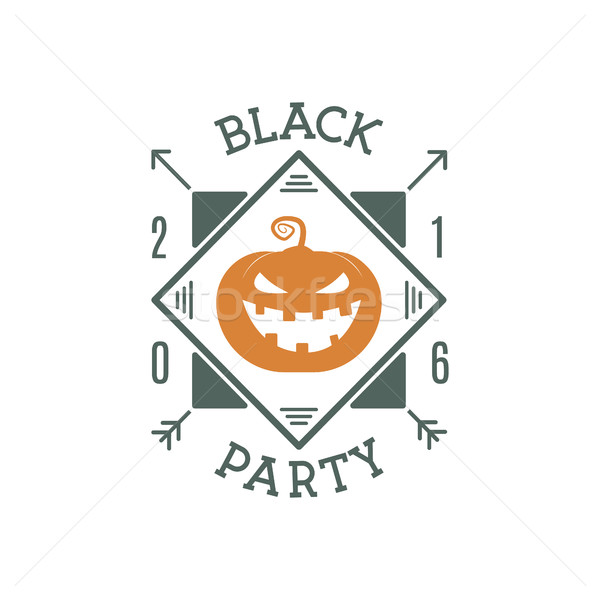Happy Halloween 2016 black party invitation label. Typography insignia for celebration holiday with  Stock photo © JeksonGraphics