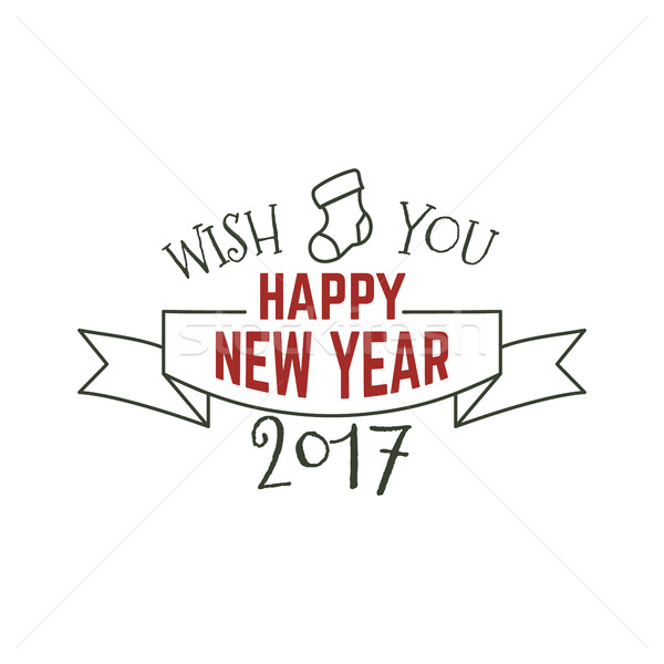Happy New Year typography wish sign. illustration of Christmas calligraphy label. Use for holiday ph Stock photo © JeksonGraphics