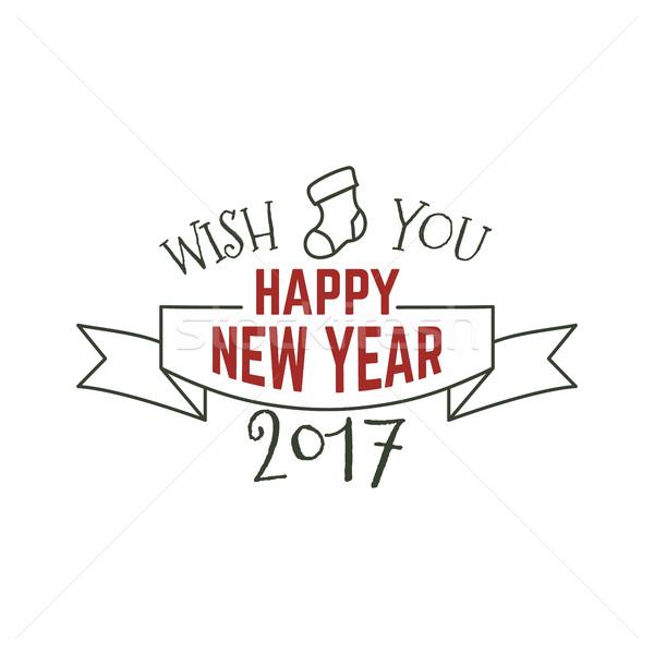 Glückliches neues Jahr Typografie Zeichen Illustration Weihnachten Stock foto © JeksonGraphics