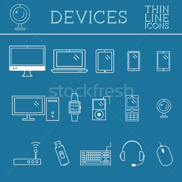 Trendy PC, computer, mobile gadgets and device line icons, mono vector symbols and elements of techn Stock photo © JeksonGraphics