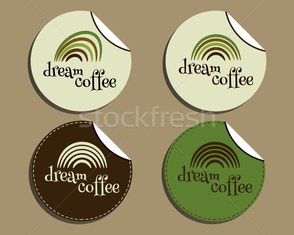 Set of unusual brand identity - dream coffee labels - stickers for cafe, restaurant. With Green coff Stock photo © JeksonGraphics