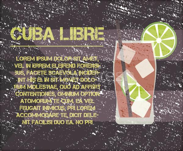 Cuba cocktail testo descrizione retro design Foto d'archivio © JeksonGraphics