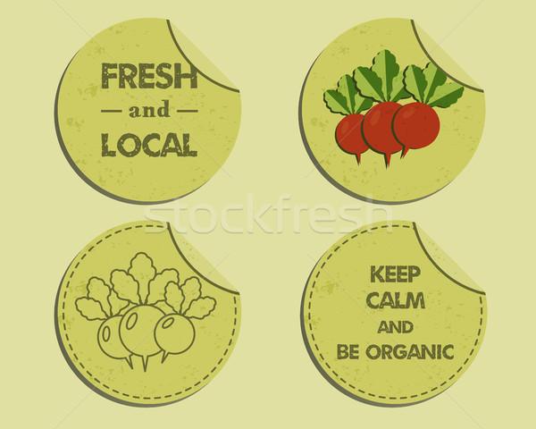 Summer Farm Fresh branding identity elements. Label, badge templates. Organic design. Mock up. Best  Stock photo © JeksonGraphics