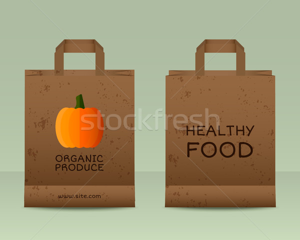 Stylish Farm Fresh paper bags template. Mock up design with pumpkin. Vintage colors. Best for natura Stock photo © JeksonGraphics