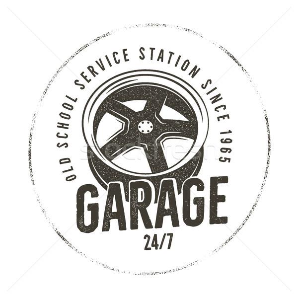 Garaż starych szkoły usługi stacja etykiety Zdjęcia stock © JeksonGraphics