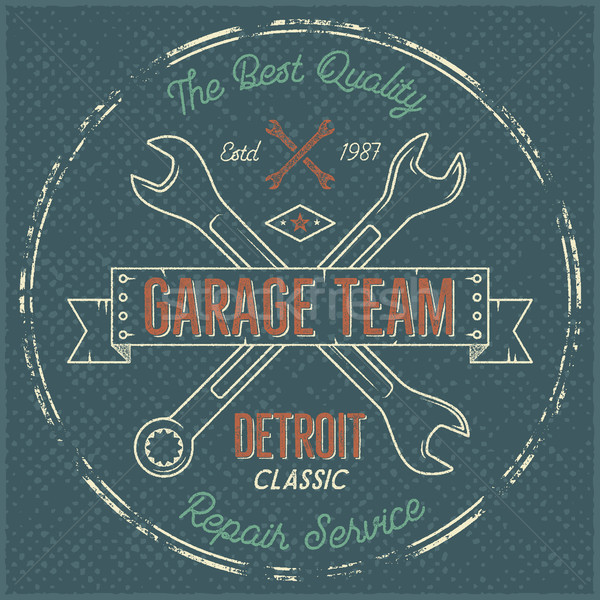 Garagem serviço vintage etiqueta projeto clássico Foto stock © JeksonGraphics