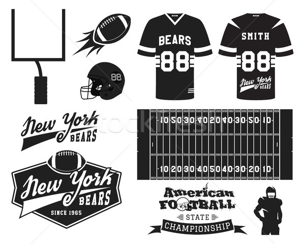 American football uniform, t-shirt design with team logo, label, badge, field, helmet, ball, goal. C Stock photo © JeksonGraphics