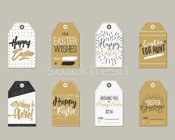 Set of Happy Easter Gift Tags with Ink Lettering signs, Overlay labels Black, white and gold palette Stock photo © JeksonGraphics