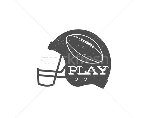 American football helmet with ball in vintage grunge syle. Textured. Sports equipment, monochrome de Stock photo © JeksonGraphics