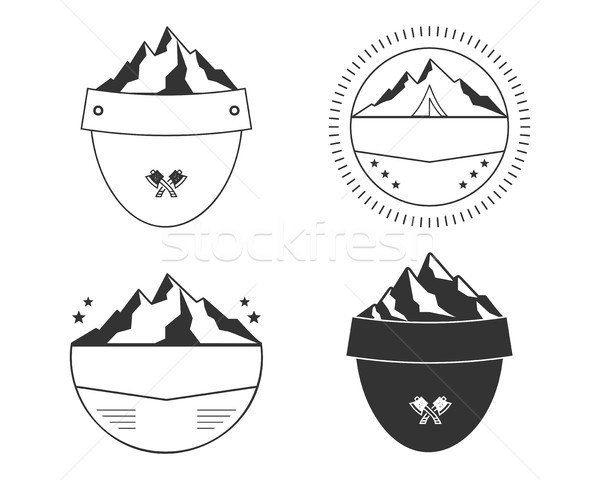 Set of silhouette badge shapes. Simple shield designs for outdoors patches, labels. Vector Stock photo © JeksonGraphics