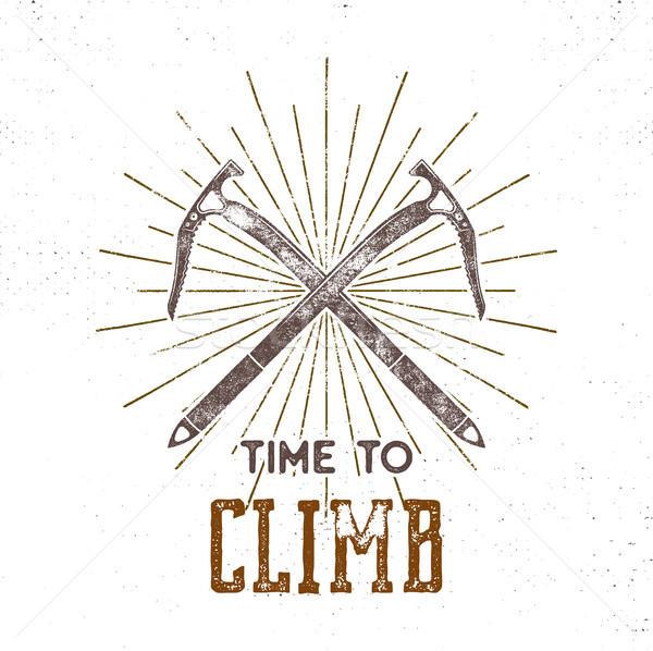 Vintage aventura etiqueta tiempo escalada tipografía Foto stock © JeksonGraphics