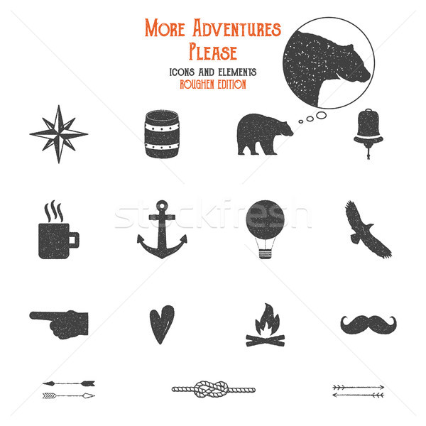 Outdoor icons and elements set for creation hiking, camping logo other designs. Solid flat vectors i Stock photo © JeksonGraphics